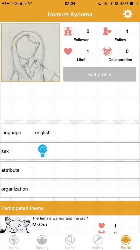 A sample profile in SAY-U.